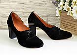 Туфли женские на высоком каблуке, из натуральной замши черного цвета, фото 3