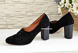 Туфли женские на высоком каблуке, из натуральной замши черного цвета, фото 4