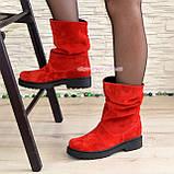 Ботинки женские демисезонные на низком ходу, из натуральной замши красного цвета, фото 2