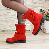Ботинки женские демисезонные на низком ходу, из натуральной замши красного цвета, фото 3