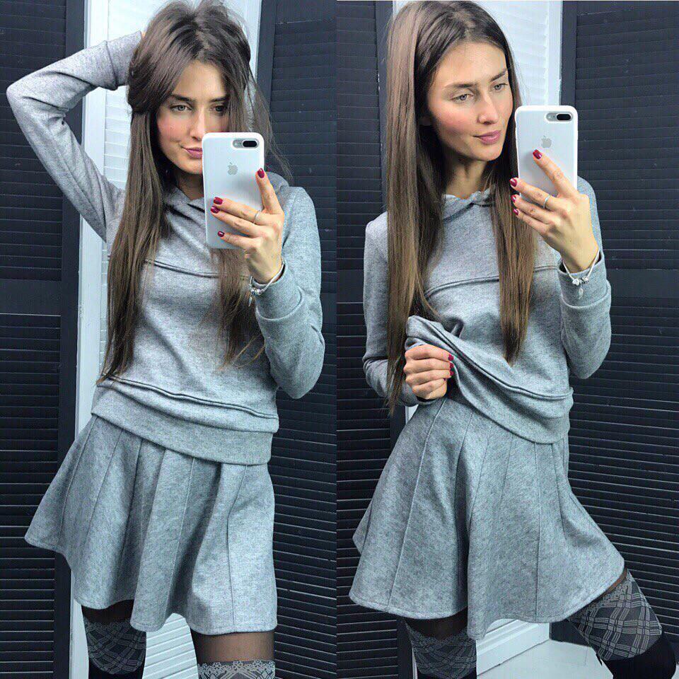 Молодежная кофта с капюшоном + юбка