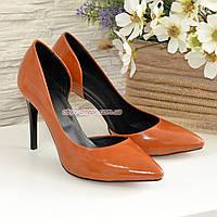 Женские кожаные туфли на шпильке, цвет рыжий