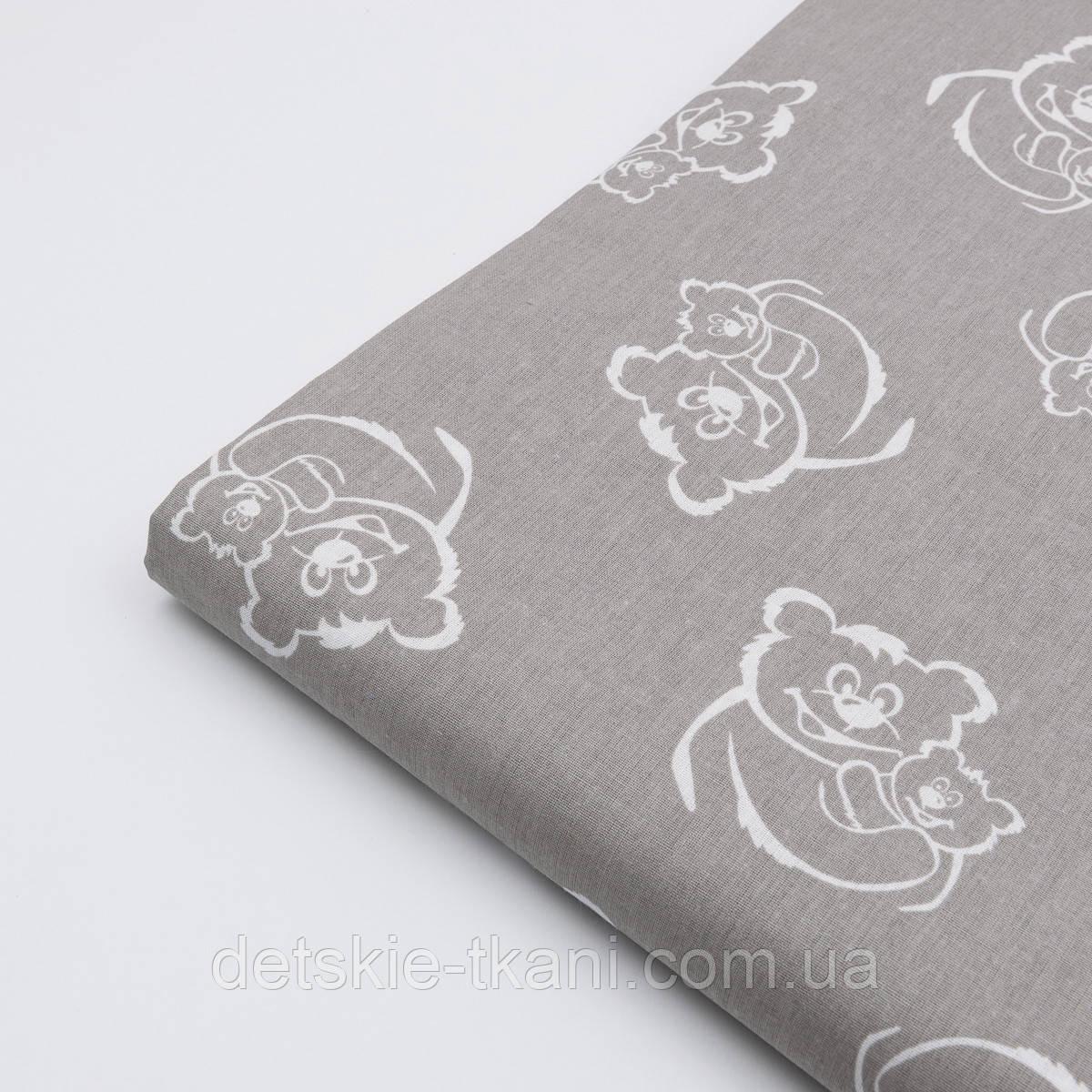Лоскут ткани №13 с белыми мишками на сером фоне, размер 39*41 см