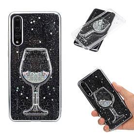 Чехол накладка для Huawei P20 Pro силикон и пластик Aqua series, Бокал вина, серебристый