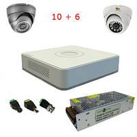 Комплект видеонаблюдения 10 наружных вандалоустойчивых + 6 внутренних камер, фото 1