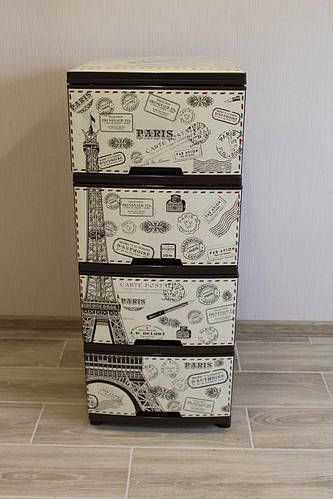 Пластиковый комод на 4 ящика с декором Париж