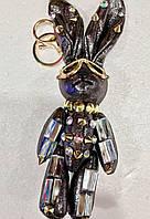 Оригинальный Сувенир Шикарный Брелок Сияющий Зайчик в Стиле Handmade для Cумок с Камнями и Стразами