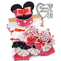 Вязаный комплект для девочки 0 -3 месяцев Микки, подарок на рождение, крещение,  ручная работа