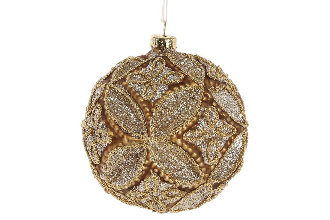 Шар елочный с декором 10см, цвет - античное золото 874-109