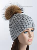 Женская вязаная шапочка с помпоном Динара средне-серая
