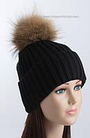 Женская шапочка с отворотом и помпоном Динара черная