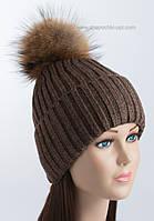 Утепленная шапка с отворотом и помпоном Динара коричневая