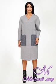 Женское кашемировое пальто большого размера (р. 44-54) арт. 1135 Тон 104