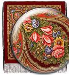 В лунном свете в лоскуте 1235-5-, павлопосадский платок (лоскут уплонтенной шерсти) шерстяной  с оверлок (подрубка) БЕЗ БАХРОМЫ, фото 2