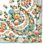 Вдоль по реченьке в лоскуте 696-1-, павлопосадский платок (лоскут) шерстяной  с оверлок (подрубка) БЕЗ БАХРОМЫ, фото 2