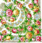 Вдоль по реченьке в лоскуте 696-2-, павлопосадский платок (лоскут) шерстяной  с оверлок (подрубка) БЕЗ БАХРОМЫ, фото 2
