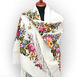 Весеннее цветение в лоскуте 1379-1-, павлопосадский платок (лоскут) шерстяной (с просновками) с оверлок (подрубка) БЕЗ БАХРОМЫ, фото 5