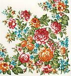 Весеннее цветение в лоскуте 1379-4-, павлопосадский платок (лоскут) шерстяной (с просновками) с оверлок (подрубка) БЕЗ БАХРОМЫ, фото 2