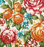 Весеннее цветение в лоскуте 1379-4-, павлопосадский платок (лоскут) шерстяной (с просновками) с оверлок (подрубка) БЕЗ БАХРОМЫ, фото 3