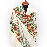 Весеннее цветение в лоскуте 1379-4-, павлопосадский платок (лоскут) шерстяной (с просновками) с оверлок (подрубка) БЕЗ БАХРОМЫ, фото 4