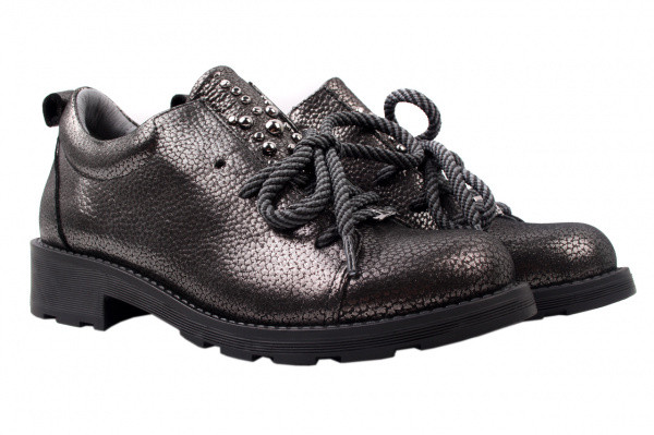 Туфли женские на низком ходу из  натуральной кожи(сатин),платиновые на шнуровку, Alpino, Турция