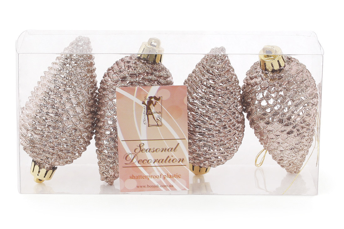 Набор елочных украшений Шишки, 8см, цвет - карамельный мокко, глянец с глитером, 4шт 147-449