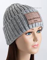 Женская вязаная шапка Эля средне-серая