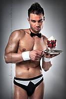 Мужской эротический костюм официанта Passion 020 SLIP black S/M: трусики, бабочка, манжеты, фото 1