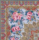 Таинственная муза в лоскуте 1461-1-, павлопосадский платок (лоскут) шерстяной с оверлок (подрубка) БЕЗ БАХРОМЫ, фото 2
