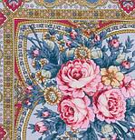 Таинственная муза в лоскуте 1461-1-, павлопосадский платок (лоскут) шерстяной с оверлок (подрубка) БЕЗ БАХРОМЫ, фото 3
