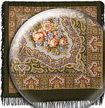 Ласковый вечер в лоскуте 1184-10-, павлопосадский платок (лоскут) шерстяной с оверлок (подрубка) БЕЗ БАХРОМЫ, фото 2