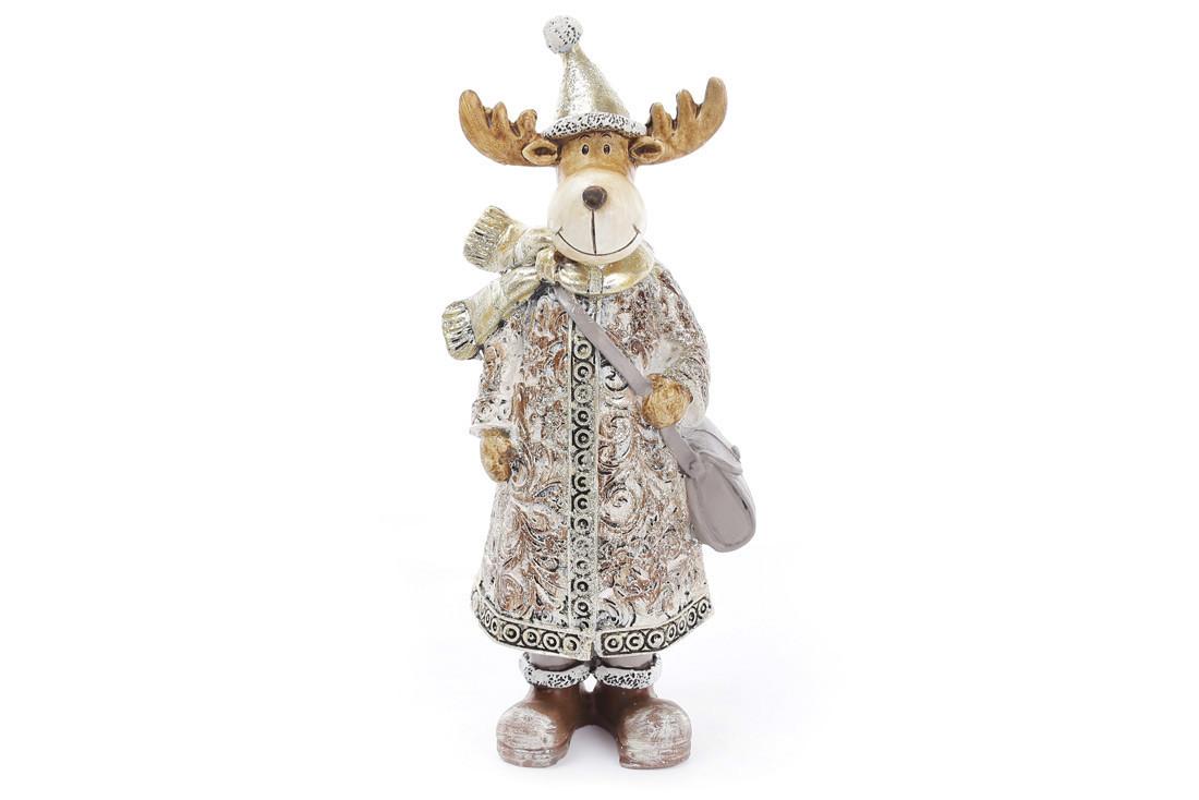 Декоративная фигурка Олень помощник Санты, цвет золотистый, 16см 218-535