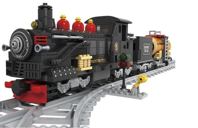 Конструктор «AUSINI / Аусини» серии «Поезд» мод.25812 «Паровоз с тендером и цистерной.»