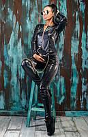 Женский стильный трикотажный костюм со вставками эко-кожи и пайеток, фото 1