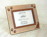 Дерев'яна рамка 10х15 см для фото кота, фото 1
