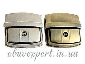 Замок сумочный, портфельный клавишный под ключик 36*37 мм Никель, фото 2