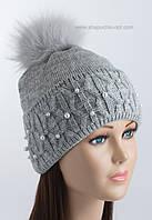 Вязаная шапочка с отворотом Фиби средне-серая