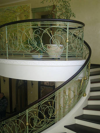 Кованые перила растительной тематики с колокольчиками, фото 2