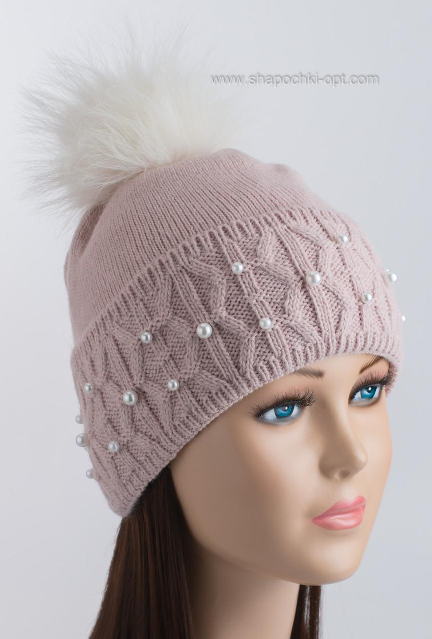 Вязаная шапочка с красивым отворотом и помпоном Фиби светлая пудра