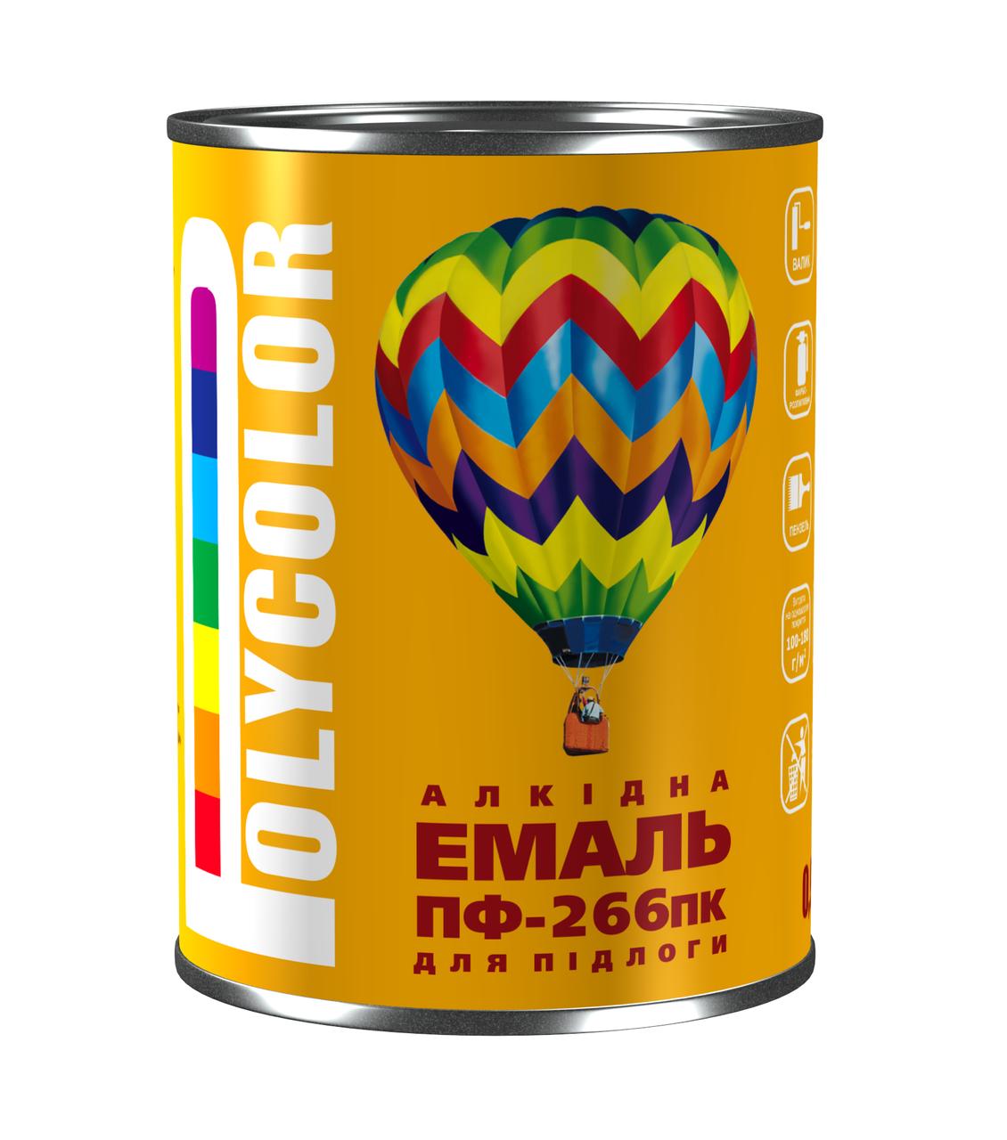 Емаль алкідна для підлоги економ ПФ-266/POLYCOLOR/ червоно-коричнева 0,9