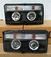 Передние фары ВАЗ 2107-2105-2104 (черные) Комплект Ксенона