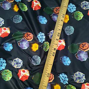 Плащевая ткань лаке принт зонтики на темно-синем