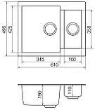 Кухонная мойка гранитная Vankor Orman OMP 03.61 Black 61*50, фото 6