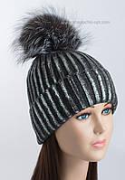 Модная вязаная шапочка с фольгированием Сильвер темно-серая
