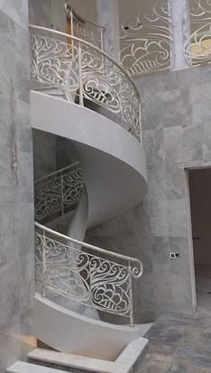 Кованые перила на винтовую лестницу, фото 2