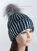 Стильная вязаная шапочка Сильвер синяя