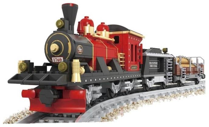 Конструктор «AUSINI / Аусини» серии «Поезд» мод.25705 «Паровоз с тендером и вагоном для перевозки леса»