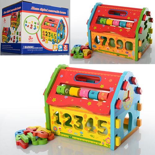 Дере'вяна іграшка Сортер MD 0717 будиночок-конструктор, в коробці, 21-17,5-17 см