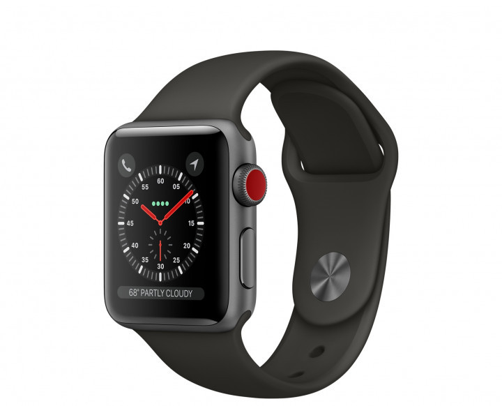 Apple Watch Series 3 GPS + Cellular 38mm Space Gray Aluminum with Gray Sport Band (MR2W2)