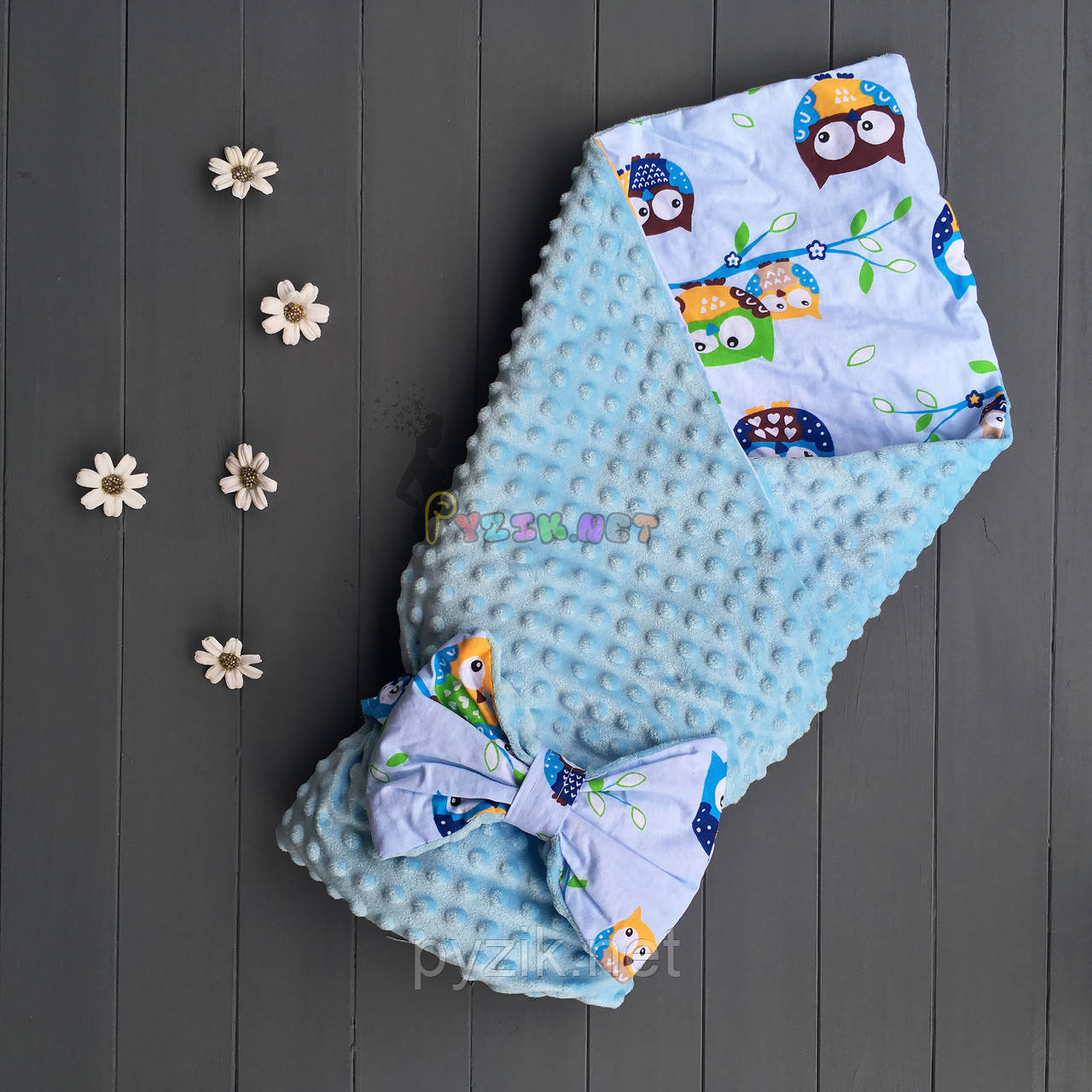Конверт-одеяло минки на синтепоне голубой с совами